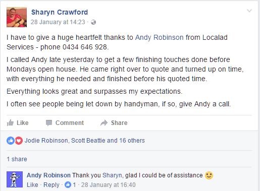 Sharyn Crawford Facebook Post